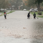 Kanata flooded street - Jammed sewers with leaves & water