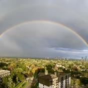 Full double rainbow in Etobicoke!