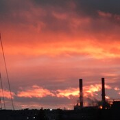 sunset over the mill