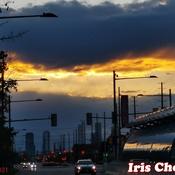 Oct 17 2021 6:19pm Sunday dramatic sunset before raining in Thornhill
