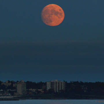 2021-10-18 - Almost full moon rising over the City of Victoria (BC)