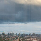 Rain loaded clouds over Toronto